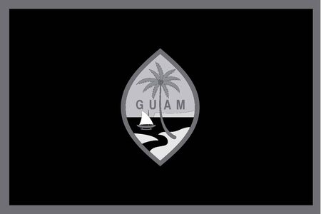 guam: An Illustrated grayscale flag of the country of Guam