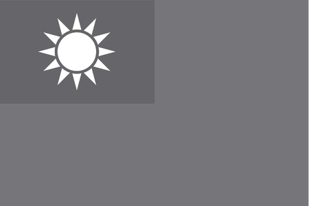 illustrated: An Illustrated grayscale flag of the country of Taiwan