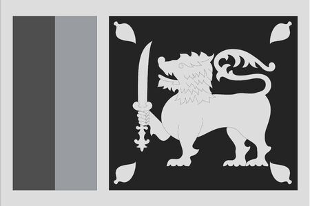 sri: An Illustrated grayscale flag of the country of Sri Lanka