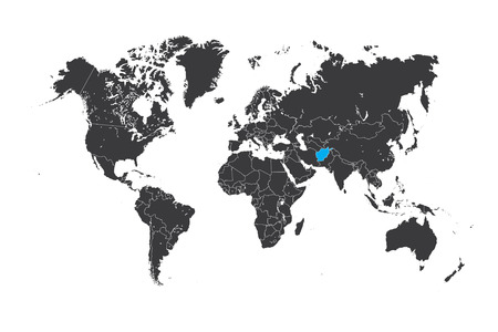 A Map of the world with a selected country of Afghanistan