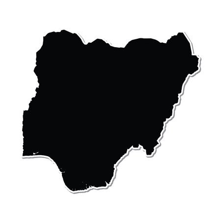 country nigeria: Shape of the Country of  Nigeria