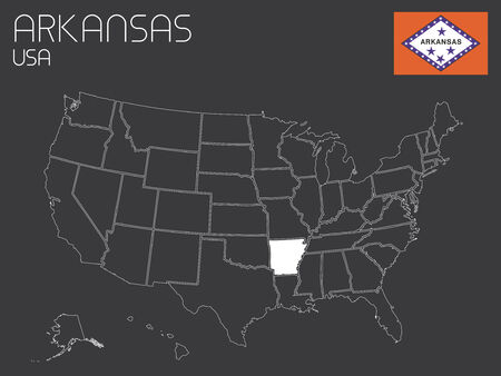 arkansas state map: A Map of the the United States of America with 1 state selected - Arkansas Stock Photo
