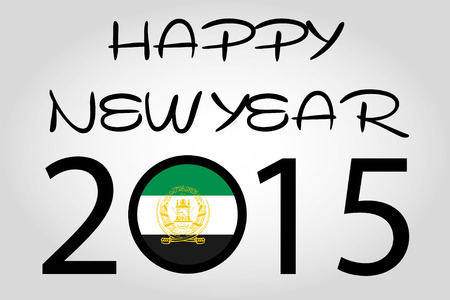 holiday celebrations: A Happy New Year Illustration with a flag inside the 0 of 2015 - Afghanistan