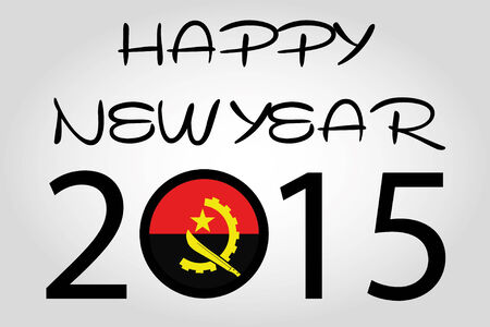 holiday celebrations: A Happy New Year Illustration with a flag inside the 0 of 2015 - Angola