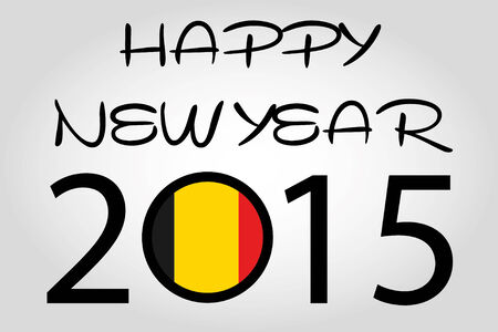holiday celebrations: A Happy New Year Illustration with a flag inside the 0 of 2015 - Belgium Illustration
