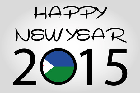 holiday celebrations: A Happy New Year Illustration with a flag inside the 0 of 2015 - Djibouti Illustration