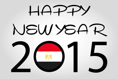 holiday celebrations: A Happy New Year Illustration with a flag inside the 0 of 2015 - Egypt Illustration