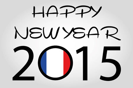 holiday celebrations: A Happy New Year Illustration with a flag inside the 0 of 2015 - France Illustration