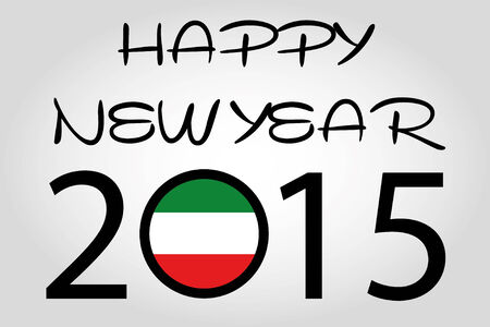 holiday celebrations: A Happy New Year Illustration with a flag inside the 0 of 2015 - Kuwait