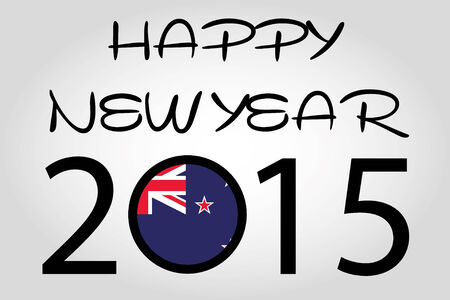 newzealand: A Happy New Year Illustration with a flag inside the 0 of 2015 - NewZealand