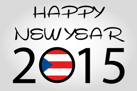 A Happy New Year Illustration with a flag inside the of 2015 - PuertoRico