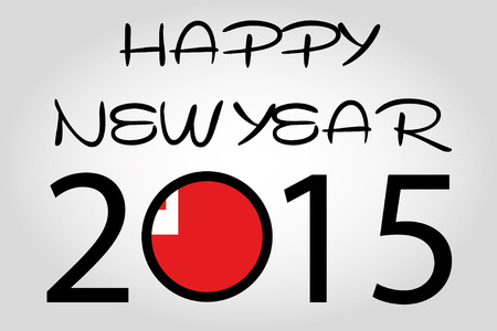 holiday celebrations: A Happy New Year Illustration with a flag inside the 0 of 2015 - Tonga