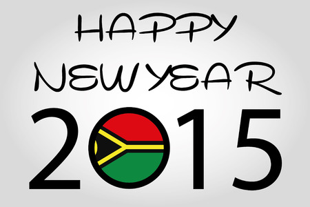 vanuatu: A Happy New Year Illustration with a flag inside the 0 of 2015 - Vanuatu
