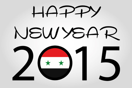 holiday celebrations: A Happy New Year Illustration with a flag inside the 0 of 2015 - Syria