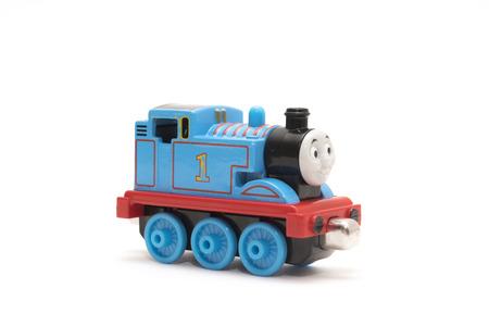 buffers: CHESHIRE, UK - February 9 2015. Thomas the Tank Engine toy, based on children Editorial