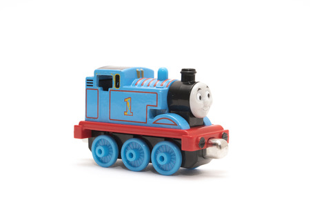 CHESHIRE, UK - February 9 2015. Thomas the Tank Engine toy, based on children 新聞圖片