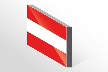 austria: A 3D Isometric Flag Illustration of the country of  Austria