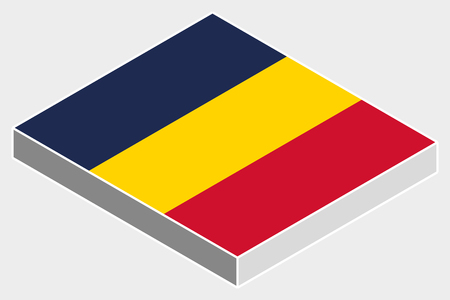 tchad: A 3D Isometric Flag Illustration of the country of  Chad