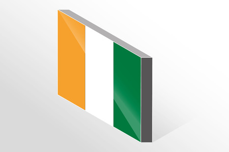 cote ivoire: A 3D Isometric Flag Illustration of the country of  Cote D Ivoire Illustration