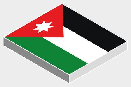 jordanian: A 3D Isometric Flag Illustration of the country of  Jordan