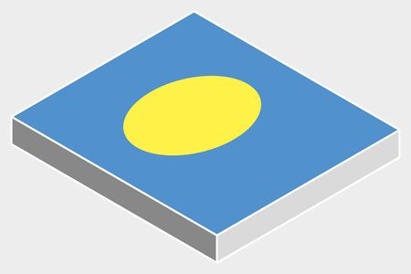 palau: A 3D Isometric Flag Illustration of the country of  Palau