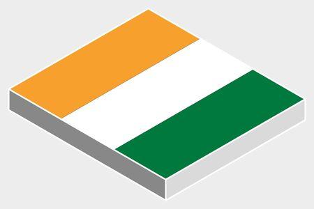 cote d ivoire: A 3D Isometric Flag Illustration of the country of  Cote D Ivoire Illustration