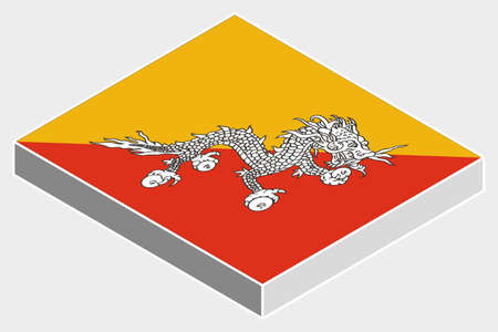 bhutan: Een 3D isometrische Illustratie van de Vlag van het land van Bhutan Stock Illustratie