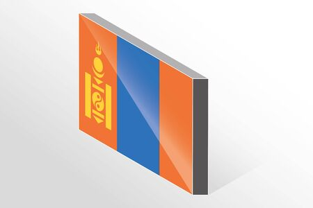 mongolia: A 3D Isometric Flag Illustration of the country of  Mongolia Vectores