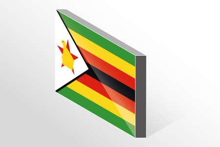 zimbabwe: A 3D Isometric Flag Illustration of the country of  Zimbabwe