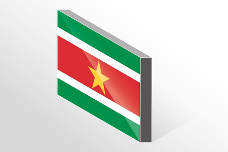 suriname: A 3D Isometric Flag Illustration of the country of  Suriname
