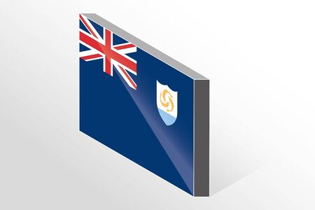 anguilla: A 3D Isometric Flag Illustration of the country of  Anguilla Illustration