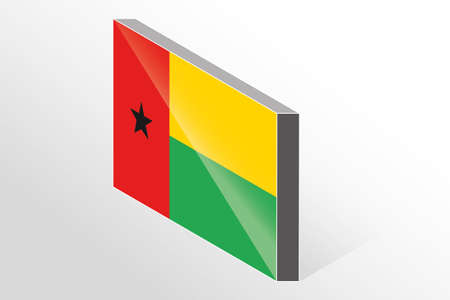guinea bissau: A 3D Isometric Flag Illustration of the country of  Guinea Bissau