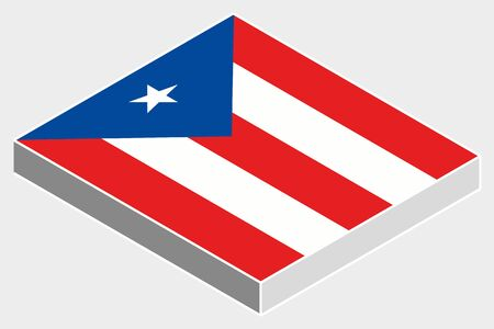 A 3D Isometric Flag Illustration of the country of  Puerto Rico