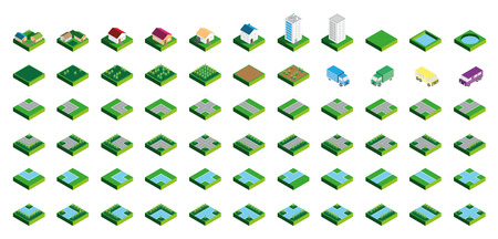 headquarter: Isometric Kit of Buildings Blocks Trees and Houses - Grass Edition