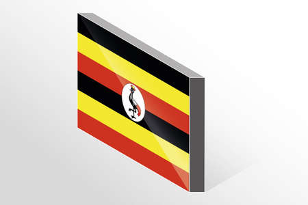 oeganda: A 3D Isometric Flag Illustration of the country of  Uganda Stock Illustratie