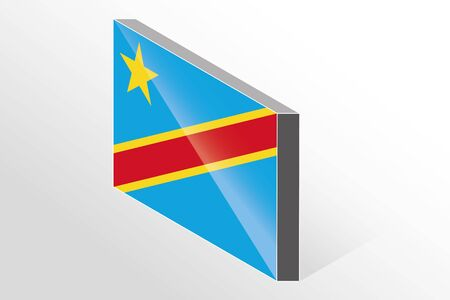 democratic republic of the congo: A 3D Isometric Flag Illustration of the country of  Democratic Republic of Congo Illustration