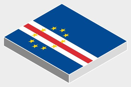 cape verde: A 3D Isometric Flag Illustration of the country of  Cape Verde