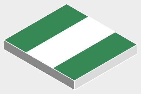 country nigeria: A 3D Isometric Flag Illustration of the country of  Nigeria Illustration