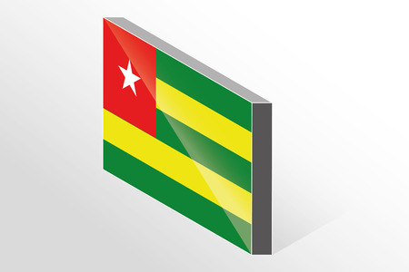 togo: A 3D Isometric Flag Illustration of the country of  Togo