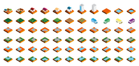 headquarter: Isometric Kit of Buildings Blocks Trees and Houses - Sand Edition