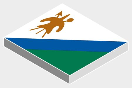 lesotho: A 3D Isometric Flag Illustration of the country of  Lesotho Illustration