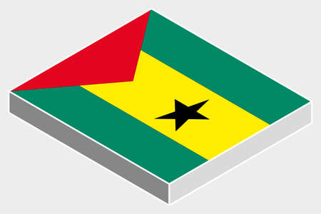 tome: A 3D Isometric Flag Illustration of the country of  Sao Tome E Principe Illustration