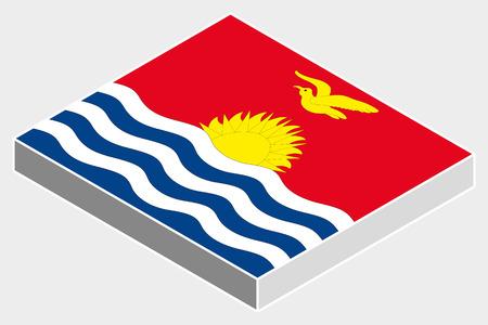 kiribati: A 3D Isometric Flag Illustration of the country of  Kiribati