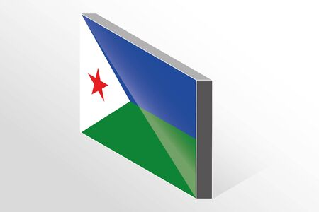 djibouti: A 3D Isometric Flag Illustration of the country of  Djibouti