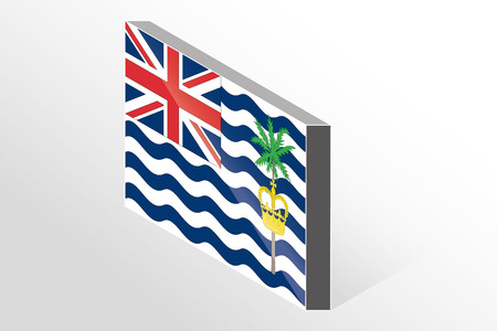 indian ocean: A 3D Isometric Flag Illustration of the country of  British Indian Ocean Territory Illustration