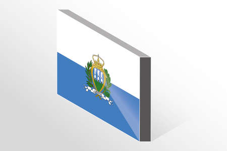 san marino: A 3D Isometric Flag Illustration of the country of  San Marino