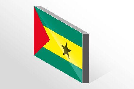 principe: Una bandera 3D isométrico Ilustración del país de Santo Tomé y Príncipe