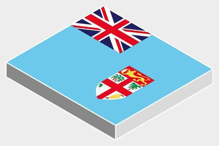 fiji: A 3D Isometric Flag Illustration of the country of  Fiji