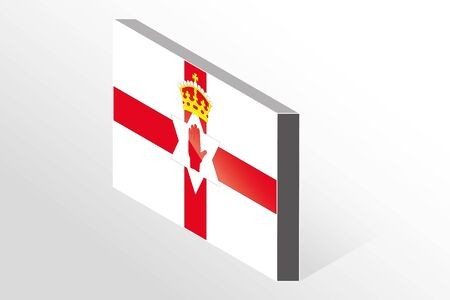 northern ireland: A 3D Isometric Flag Illustration of the country of   Northern Ireland