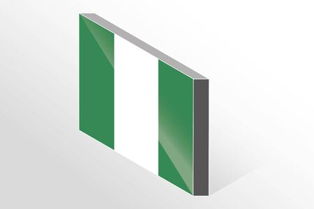 country nigeria: A 3D Isometric Flag Illustration of the country of  Nigeria Stock Photo